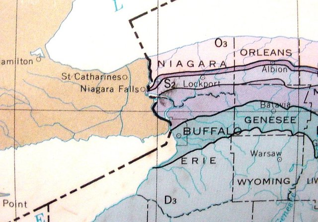 A simplified map of the geology of Western New York including Niagara Falls.