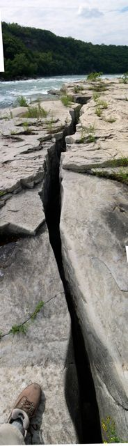 A crack in the Whirlpool Sandstone.